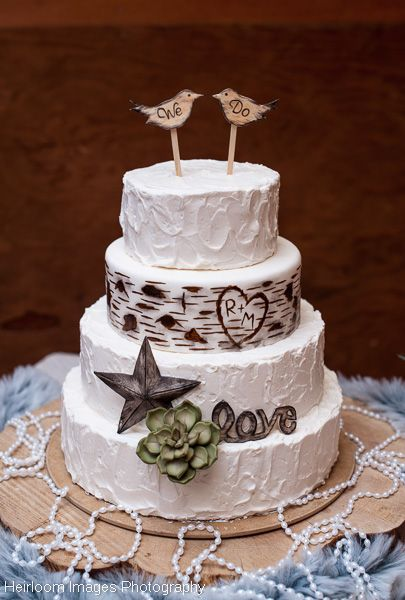 Rustic buttercream and birch tree wedding cake with sugar birds, star and succulent, by Sweet and Swanky Cakes in Bend, OR
