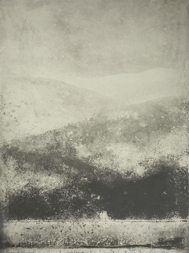 norman ackroyd - snow at coniston, 1998 (england / northern counties series), etching.