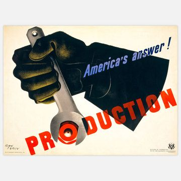 The Production! America's Answer Poster was created for the Office of Emergency Management, Division of Information in 1941 to spur production during the war effort. Illustrated by Jean Carlu, the simple image of a hand turning a wrench belies the artist's well-known deference to cubism in its hard angles and gradations of color.