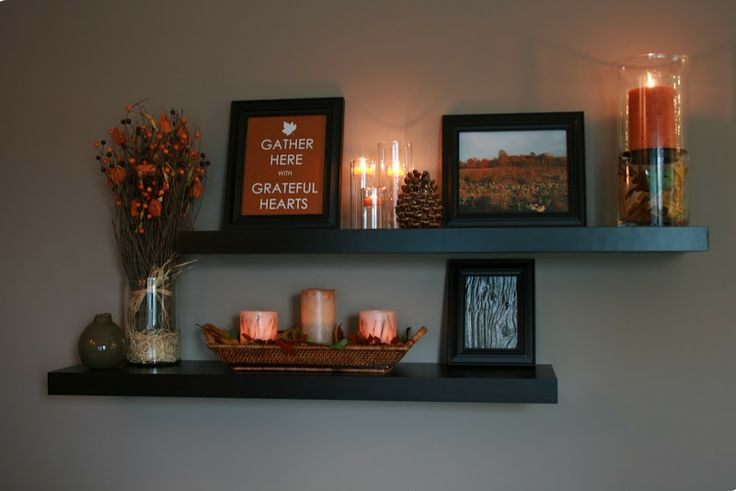 My happy house fall decorating 2011 part 1 for the home pinterest decorating house and Shelf decorating ideas living room