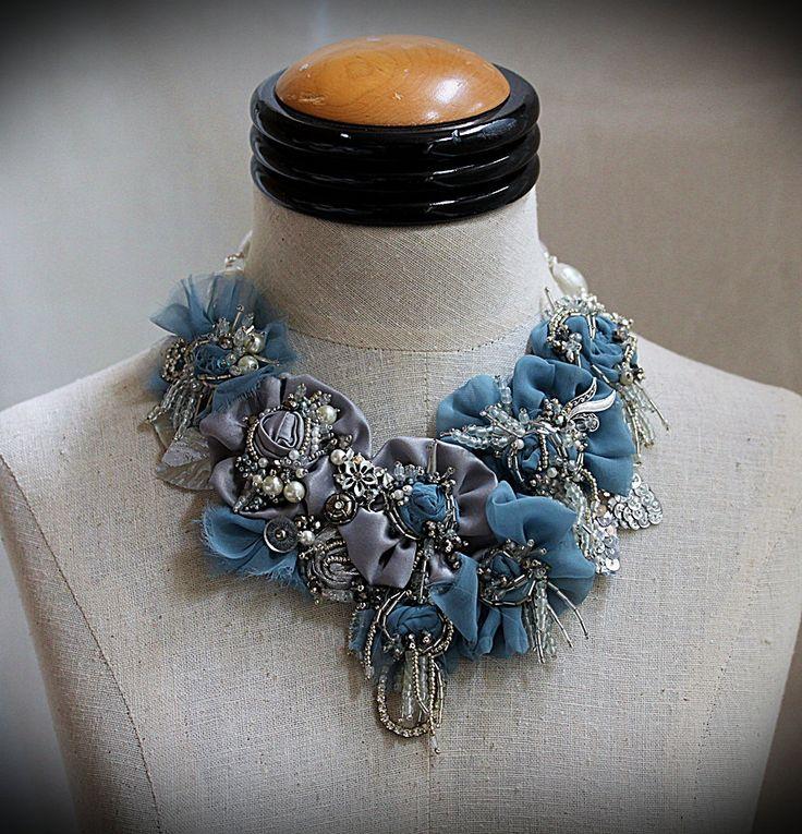 LITTLE GIRL BLUE Beaded Textile Wearable Art от carlafoxdesign