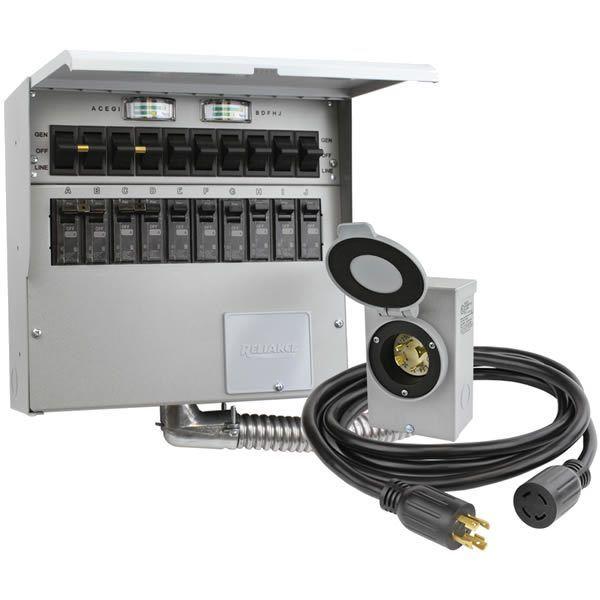 Reliance Controls 310crk Pro Tran 2 30 Amp Power Transfer Switch Kit For Portable Generators 10 Circuit Generator Transfer Switch Transfer Switch Portable Generator