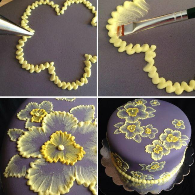 Как делается картинка на торте из крема покрыт сливками