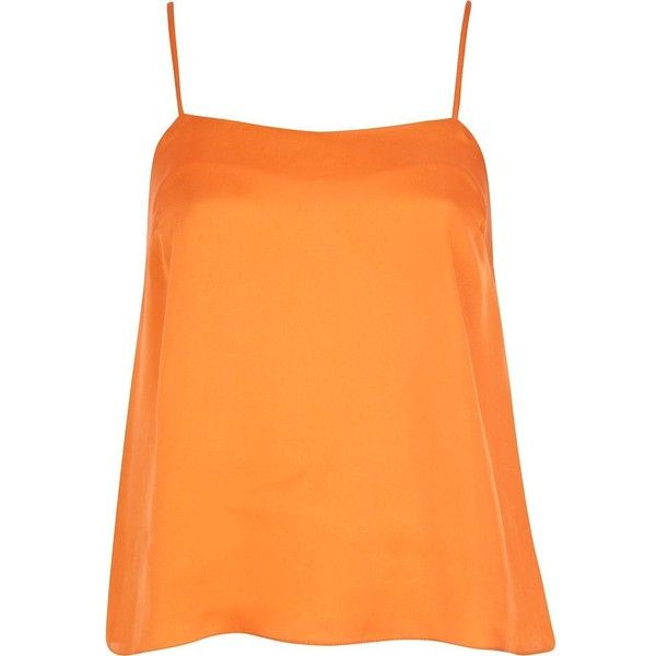 River Island Orange cami top ($9.89) ❤ liked on Polyvore featuring tops, orange, tank tops, blusas, shirts, sale, river island top, orange tank top, camisole shirt and cami tank