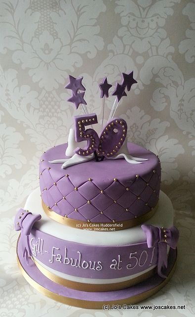 Two Tier Purple, White and Gold 50th Birthday Cake   Flickr - Photo Sharing!