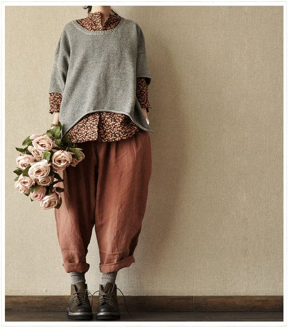 Red  Loose Leisure Cotton women  girl Linen Pants (and lovely styling)