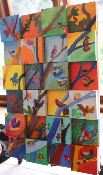 waldorf school auction items bird canvas collage painting