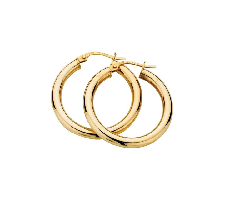 9ct Yellow Gold Hoop Earrings 3/20mm, Earrings, SJ0587