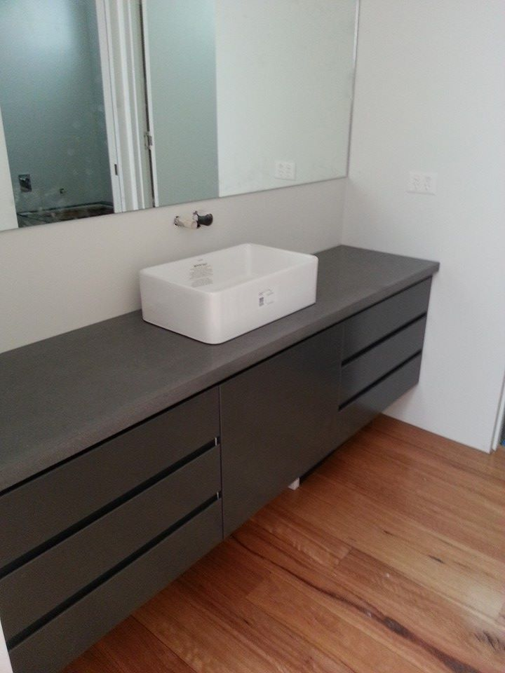 Digital Art Gallery Polished Concrete Bathroom Vanity top by Mitchell Bink Concrete Design mbconcretedesign