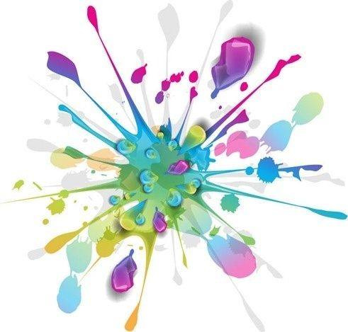 splashes colorful ink vector art