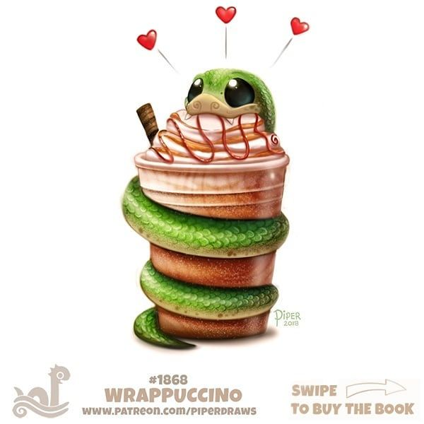 Daily Paint 1868# Wrappuccino For full res WIPs, art, videos, and more: https://www.patreon.com/piperdraws Daily Paintings Book now available: http://ForgePublishing.com/shop #illustration #animals #art #digital