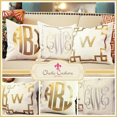 BACK IN STOCK!!!!  Ah-Maze-Zing!! Check out these Fabulous, Metallic, Monogrammed, Throw Pillows!! Make that Boring Chair, Frumpy Coach, or Sexless Bed look Chic as these are the perfect accessory for any room. Click on Picture for more Details...♥