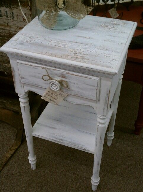 Distressed Side Table Using White Ash By Farmhouse Paint