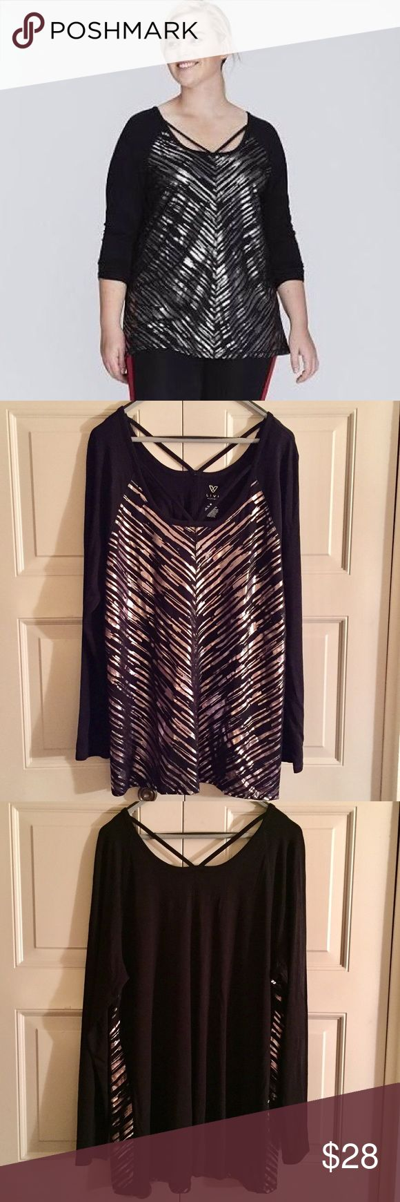 🆕 Lane Bryant Livi Strappy Top Lane Bryant Livi Activewear Metallic Strappy Top.  Size 18/20.  NWT Lane Bryant Tops Tees - Long Sleeve
