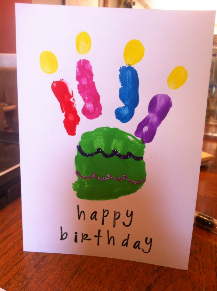 DIY happy birthday card. Easy for kids. Paint hand, fingers and add glitter.