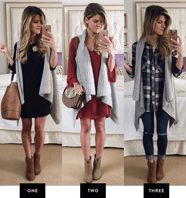 3 fall outfits with grey open front vest // different ways to wear an open front drape vest