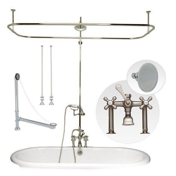 Clawfoot Tub Side Mount Shower Enclosure Set Shower Enclosure