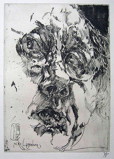 """Horst Janssen: Selbstbildnis """"barock"""", 1982, Radierung © Horst Janssen/VG Bild-Kunst, 2008"""