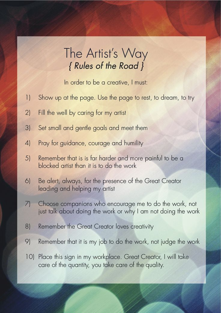 From The Artists Way.... reclaiming your creativity