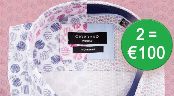 #Sale 2 #Giordano overhemden voor slechts € 100 (tot #50% korting). Bekijk nu de Giordano #shirts in onze #webshop op #shirtsupplier.nl