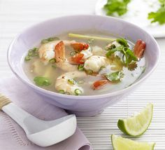 Tom yum (hot & sour) soup with prawns. An authentic and deliciously nourishing clear Thai broth with seafood and big bold flavours by John Torode