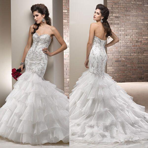 Bruiloft sluier hoge kwaliteit zeemeermin lovertjes organza bruids toga's& kristal luxe nieuwe bruiloft dresseswang