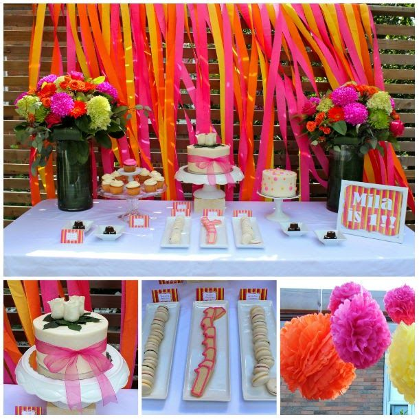 Yellow, orange and pink birthday decorations (c/o Russel Events)