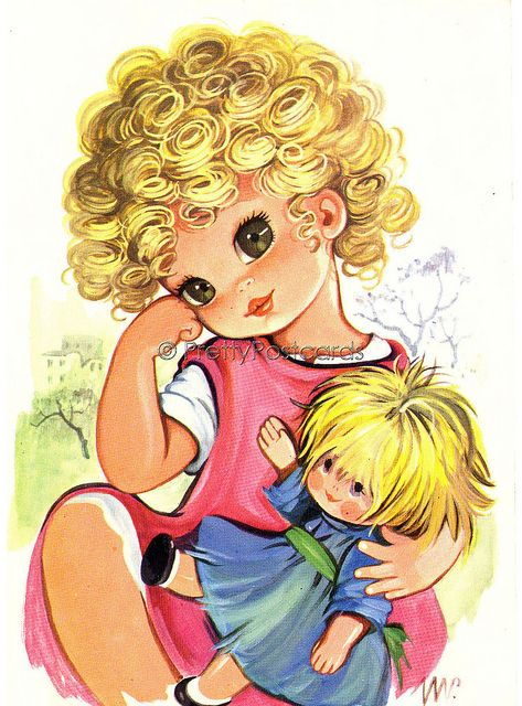 Look at my lovely Curls - Postcard Vintage of a Big Eyed Girl with her Dollie, via Flickr.