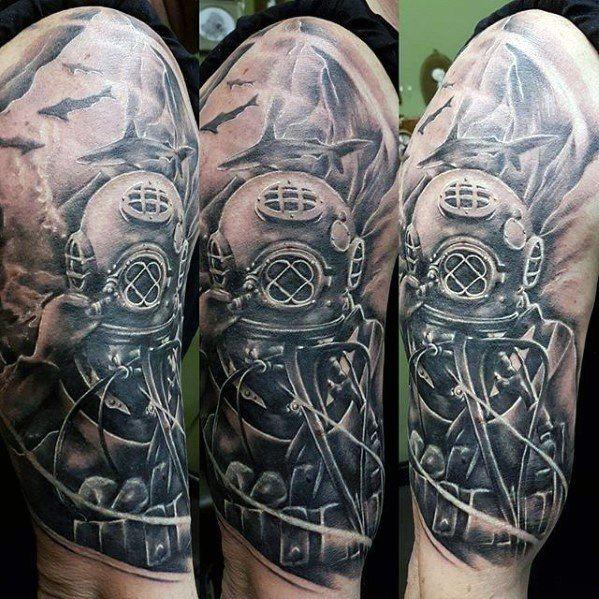 60 Diver Tattoo Designs For Men Underwater Ink Ideas Dove