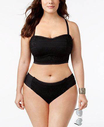 3e981e63543 Becca ETC Plus Size Prairie Rose Crochet Halter Bikini Top | macys.com