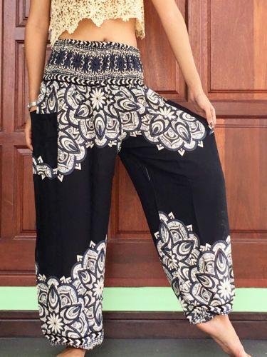 womens casual aladdin summer trousers yoga harem cargo balloon pants waist smock