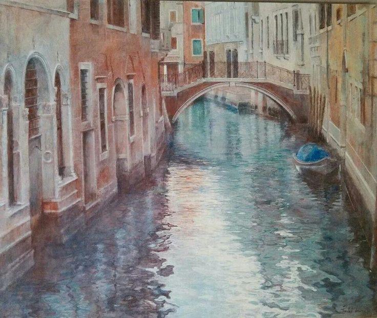 """""""Venecia"""". Piedad Lozano. 60x73. Acrilico sobre lino"""