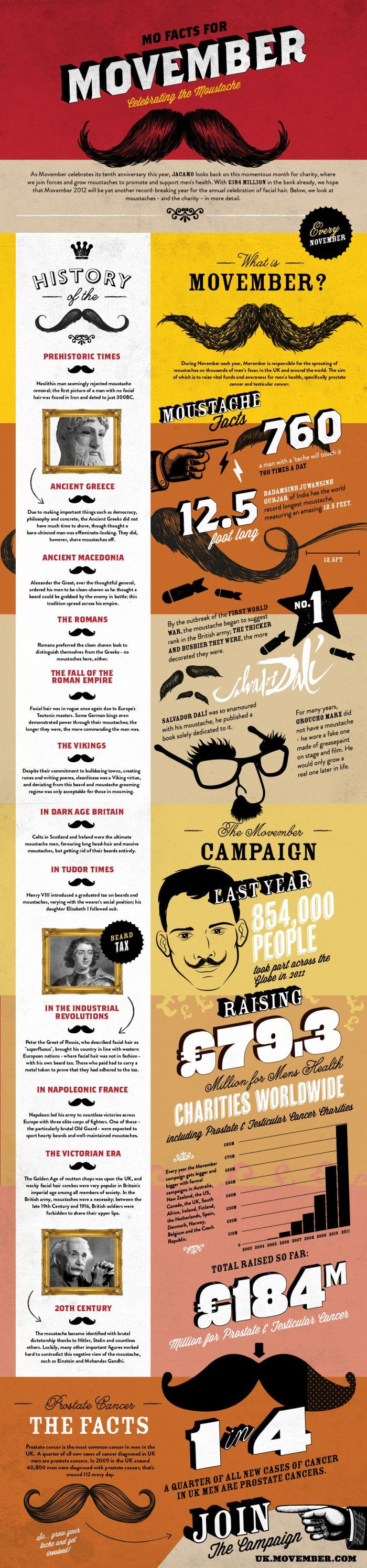 Mo Facts for Movember: Celebrating the Moustache  [by Jacamo -- via #tipsographic]. More at tipsographic.com