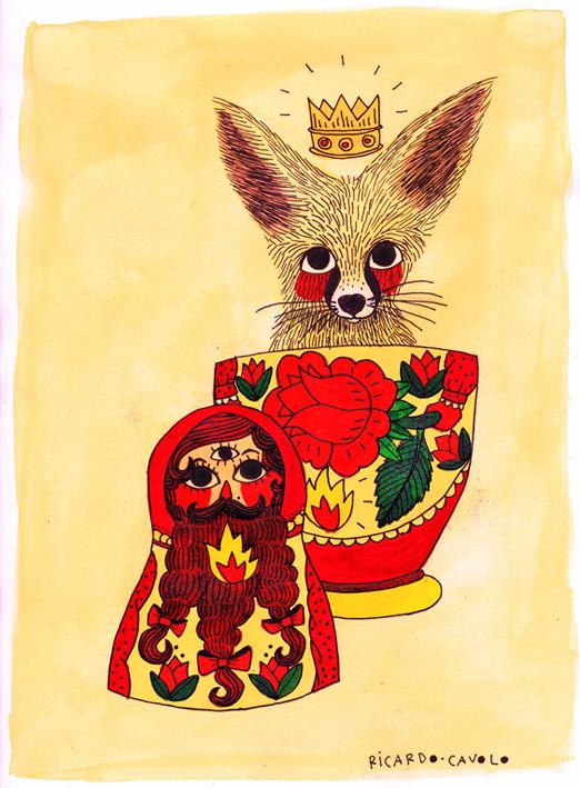 RICARDO CAVOLO #art #illustration #color #fox #Russian doll #yellow #red #flower #crown #drawing