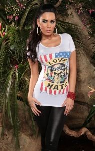 biały T-Shirt Love/Hate