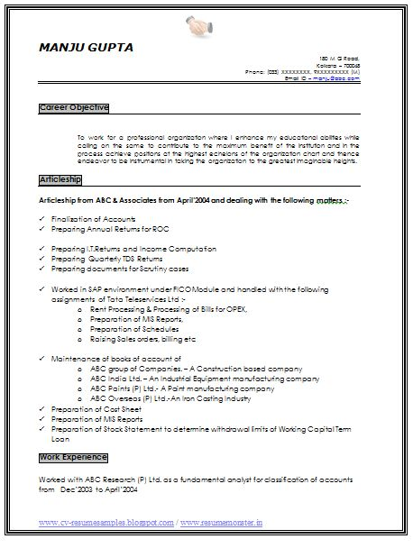 Resume Sample of an Experience Chartered Accountant with Great Career Objective,Job Profile and Awesome Example Template, Professional Curriculum Vitae with Free Download in Word Doc / PDF (2 Page Resume) (Click Read More for Viewing and Downloading the Sample)  ~~~~ Download as many CV's for MBA, CA, CS, Engineer, Fresher, Experienced etc / Do Like us on Facebook for all Future Updates ~~~~