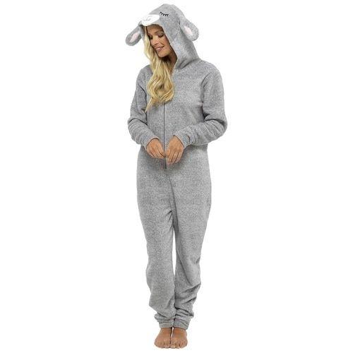 39d0ec242 Ladies Novelty Hood Grey Cuddle Fleece Lamb Onesie
