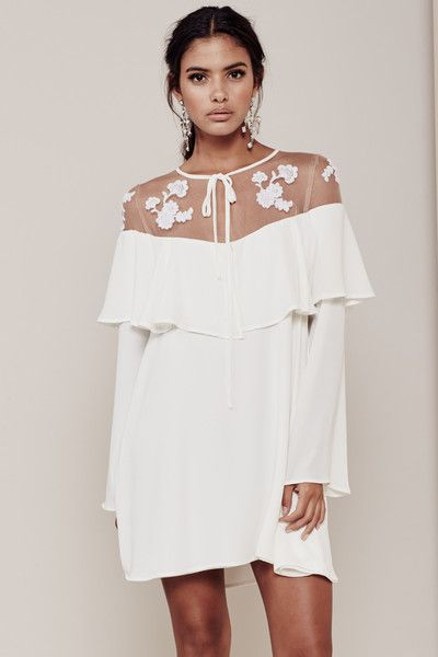 For love and lemons white dress with lace bottom