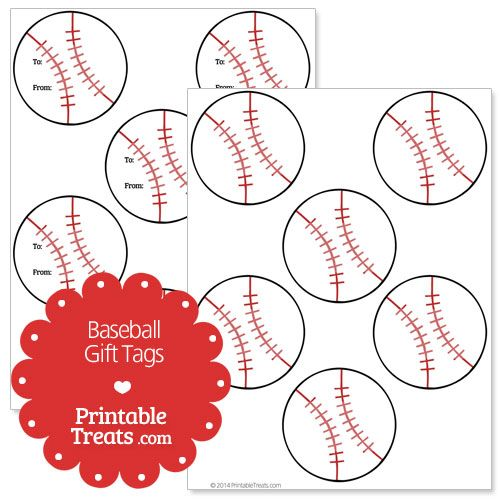 Free Printable Baseball Gift Tags from PrintableTreats.com