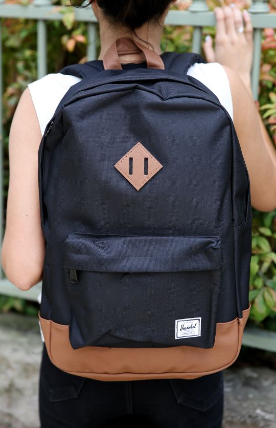 "Herschel - Heritage 15"" Laptop Backpack - Black/Tan PU from Peppermayo.com"