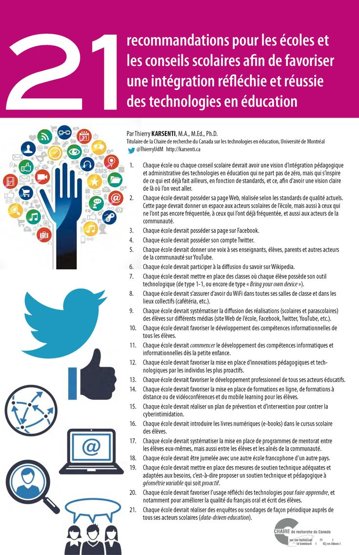 21 Recommandations pour les écoles et les conseils scolaires afin de favoriser une intégration réfléchie et réussie des technologies en éducation #education
