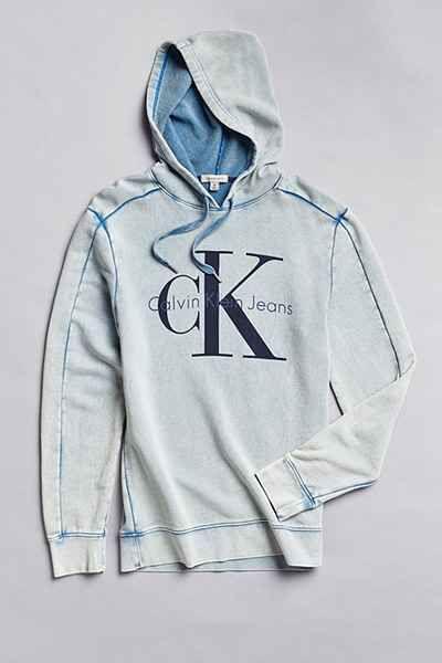 Calvin Klein Classic Logo Acid Wash Hoodie Sweatshirt - Urban Outfitters