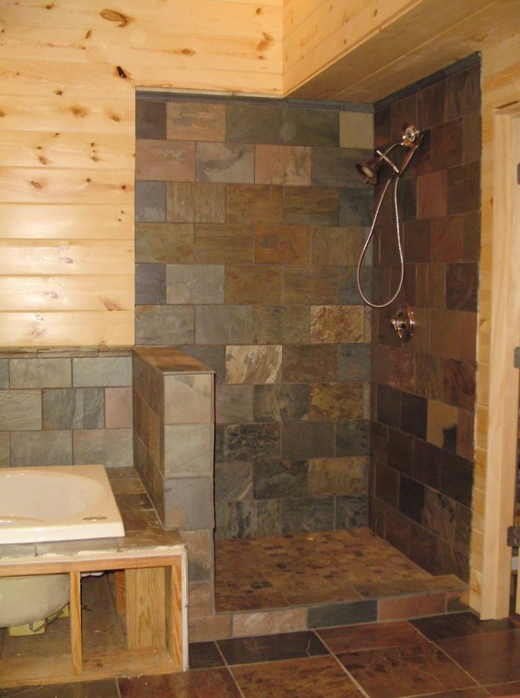 Bathroom Rustic Light Wooden Bathroom Wall Design Plus Drop In Bathtub Also  Creative Walk In Shower And Grey Floor Tile Amazing Walk In Shower Ideas On  ...