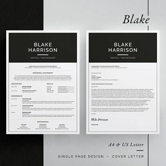 ◼︎ Includes FREE Matching Business Card Design  Introducing Blake, a simple, striking design which includes a single page resume/cv and cover letter. All artwork and text is fully customisable; Easily edit the typography, wording, colors and layout. Each template uses a strong baseline/document grid which will allow you to edit or add to the layout very easily.  International A4 & US Letter sizes included   ◼︎ ONE OF THE FOLLOWING SOFTWARE PACKAGES REQUIRED: ▪︎ Adobe InDesign CS...