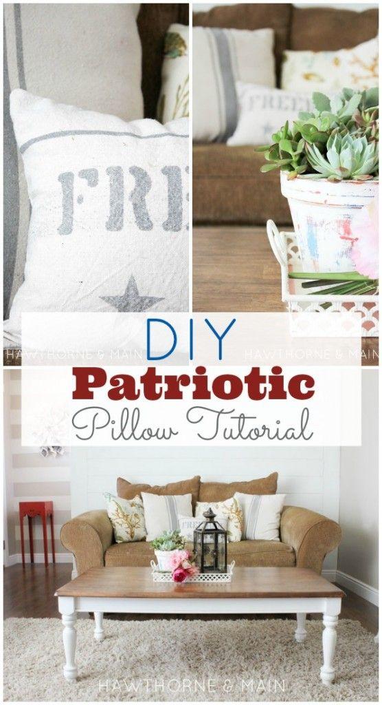 easy diy grain sack pillow