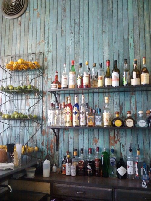 Outdoor Bar Prop Wood Against Wall And Hang Tv Shelves