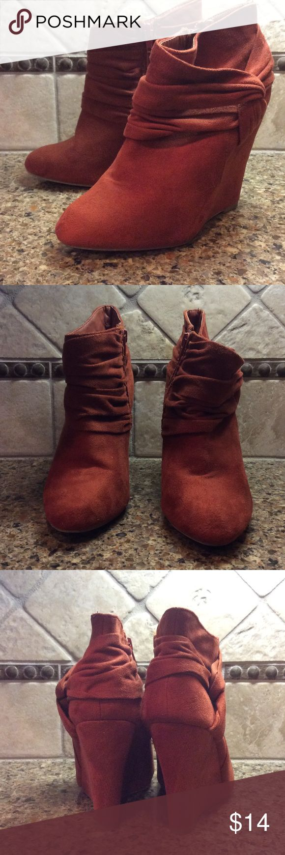 """Cute Rust Colored Ladies Wedge Booties These are so cute and fashionable right now! In marvelous condition, these booties feature a 4"""" wedge heel & inside zipper.  Worn only once! Charlotte Russe Shoes Ankle Boots & Booties"""