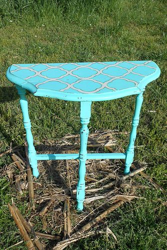 chalk paint u0026 quatrefoil vintage half moon table junktiques