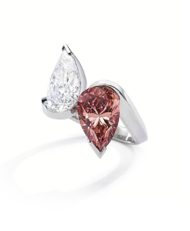 platinum fancy vivid orangy pink diamond and diamond u201ctoi et moiu201d ring olivier reza set with a spectacular pearshaped fancy vivid orangy pink color