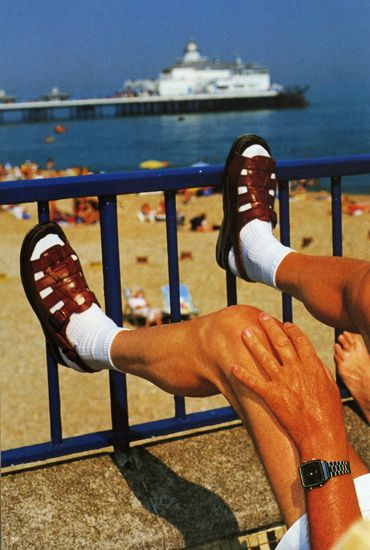 socks and sandals... such a typical thing to see at the beach